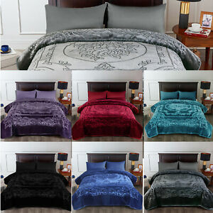 Ultra Plush Blanket Floral Embossed King Size Heavy Thick 9 Pounds Blanket