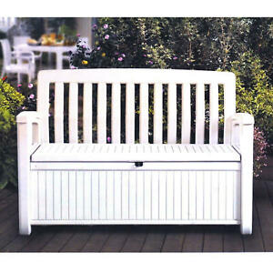 KETER 60 Gallon All Weather Outdoor Patio White Storage Bench