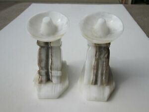 VTG Alabaster Sleeping Mexicans Under Large Sombreros Book Ends $17.00