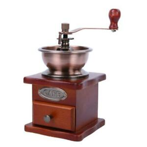 Wood Vintage Antique Coffee Bean Mill Desk Hand Crank Manual Grinder with Brush