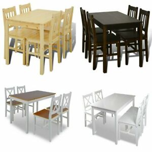 US Kitchen Dining Set Wooden Furniture Table and Chairs Seat Multi Colors