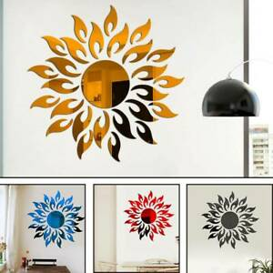3D Mirror Sun Art Removable Wall Sticker Acrylic Mural Decal Home Room Decor DIY $5.41