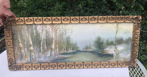 Antique Art Nouveau Framed lithograph Of Winter Birch Wood Trees Lake Gold Frame $119.00
