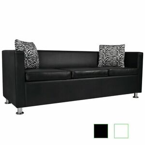 US 3 Seater Sofa Artificial Leather Living Room Home Furniture Black White