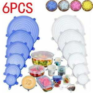 6 Pcs Silicone Stretch Lids Food Storage Wraps Covers Seal Fresh Reusable USA