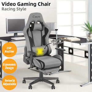 Gaming Chair Office Racing Computer Desk Seat Recliner Footrest Swivel Vibration $165.99