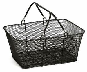 Perforated Metal Shopping Grocery Basket with Vinyl Handles BLACK