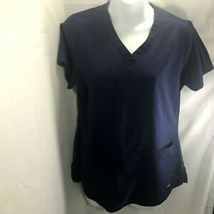 Grey Anatomy Women's Scrub Top Sz Small Dark Blue By Barco Two Pockets