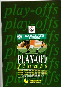 Barclays League Play off Finals Divisions 4 3 amp; 2 for 1991 at Wembley Mint