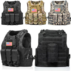 HUNTVP Military Tactical Vest Molle Combat Assault Plate Carrier w without Flag $35.99