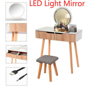 2 Drawers Makeup Vanity Table Set with LED Lights Mirror Dressing Desk