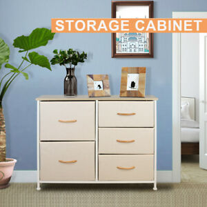 Chest Fabric Storage 5 Drawers Dresser Bedroom Furniture Cabinet Toys Organizer
