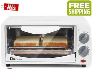 Elite Gourmet Personal 2 Slice Countertop 15 Minute Timer Toaster Oven Broil