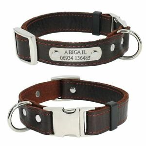 Customized Dog Collars Genuine Leather Dogs Puppy Nameplate Collar Adjustable