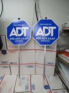 2 NEW 27.5quot; AUTHENTIC SECURDED BY ADT SECURITY YARD SIGN WITH ALUMINUM POST