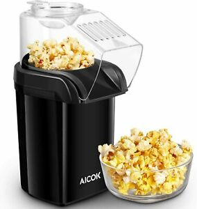 AICOK 1200W Oil Free Fast Hot Air Popcorn Popper with Measuring Cup Black NEW