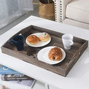 21quot; Rustic Wood Serving Tray with Handles Ottoman Restaurant Food Non Skid Trays