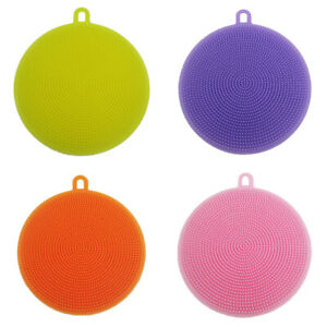 1PCS Round Silicone Dish Washing Kitchen Cleaning Sponge Scrubber Anti bacterial