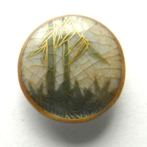 Vintage Ceramic Satsuma Button Painted Green Bamboo Gold Accents 13 16