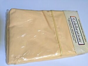 Vintage yellow two standard pillowcases cotton blend new