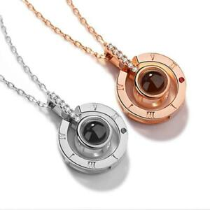 Fashion Rose Gold amp; Silver 100 Languages I Love You Projection Couple Pendant Ro $12.99