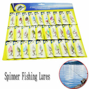 30PCS Trout Spoon Steel Metal Fishing Lures Spinner Baits Bass Tackle Colorful