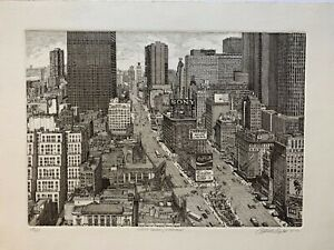 Original Elliot Engels Etching of Manhattan NYC from 1981 Signed Ed# 295 475 $150.00
