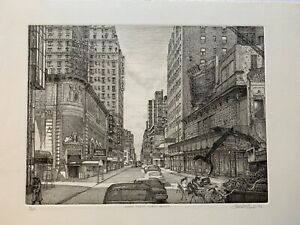 Original Elliot Engels Etching of Manhattan NYC from 1982 Signed Ed# 80 475 $150.00