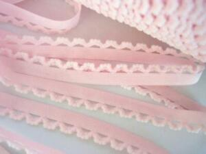 10 yards Elastic 1 2quot; Soft Plush Eyelet Scallop Lace trim Baby Sewing T30 Pink $6.50