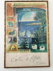 ORIGINAL FRENCH LITHOGRAPH COTE D quot;AZUR BY PICASSO FRAMED $1800.00