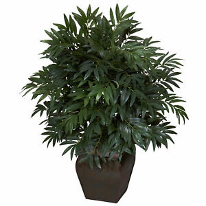 Double Bamboo Palm W Decorative Planter Silk Plant Realistic Nearly Natural $107.16