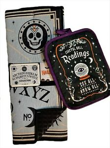 Halloween Ouija Board Kitchen Dish Drying Mat and Crystal Ball Oven Pot Holder $16.50