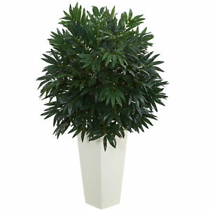 Double Bamboo Palm Artificial Plant In White Tower Vase Nearly Natural Decor $124.09