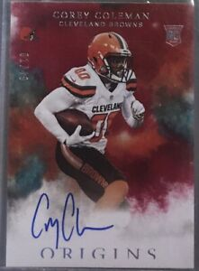 2016 Origins COREY COLEMAN On Card Auto RC Rookie #d 01 49 FIRST ONE Browns