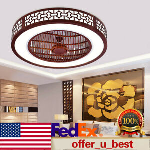 Modern Wood Round LED Ceiling Invisible Fan Light Chandelier Bedroom Lamp Fixtur $159.00