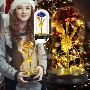 Gold Foil Flower Beauty and The Beast Rose LED Light Glass Dome Christmas Gifts
