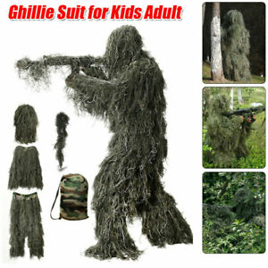 Adults Ghillie Suit Camo Woodland Camouflage Forest Hunting Clothes w Bag
