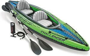 NEW Intex Challenger K2 Inflatable Kayak Set w Oars And Air Pump