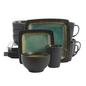 16 Piece Square Stoneware Dinnerware Set Turquoise Plates Bowls Mugs Dishes New $59.99
