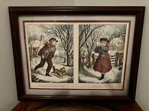 "Currier And Ives Framed Lithograph Prints ""Throw If You Dare"" And ""Shall I"" $25.00"