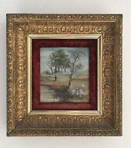 Antique Painting Heavy Gold Frame Velvet Border Sheep By The River Signed 1886 $125.00