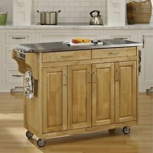 Stainless Steel Top Wooden Kitchen Cart Island with Casters $474.25