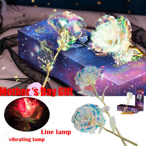 24K Gold Foil Rose Flower LED Luminous Galaxy Mother#x27;s Day Christmas#x27;s Day Gift $5.99