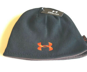 Mens BLACK Under Armour Cold Gear Fleece Beanie Winter Hat BNW Tags Reversible $24.99