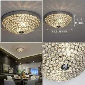 Modern Mini Chandelier Crystal Pendant Light Flush Mount Small Ceiling Lighting $33.99