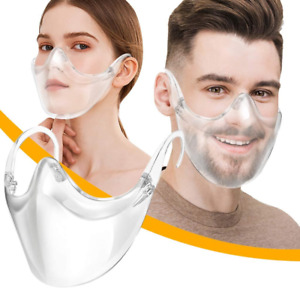 Clear Face Mask Shield Safety Protector Reusable Plastic Transparent Cover USA $9.99