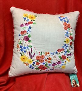 Brand New Pioneer Woman HTF Flowering Horseshoe Pillow. 18 x 18 Sealed $45.99