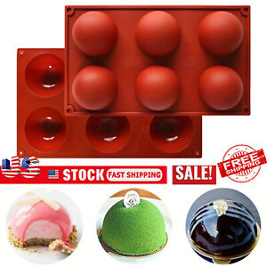 ONE 6 Hole Semi Sphere Round Silicone Mold Hot Chocolate Bombs Cake Baking Mould $8.89