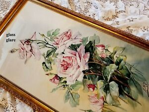 French Antique Roses Painting E938 C Klein Signed Watercolor $349.99