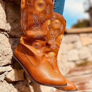 Womens Sunflower Printed Western Boots Cowgirl Round Toe Short Embroidered Boots $23.90